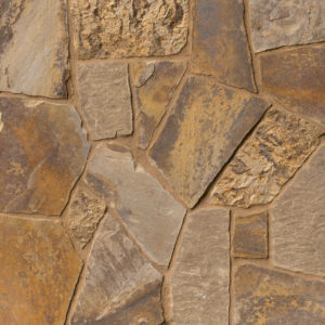 Oklahoma flagstone is a dark, irregular patterned flagstone with many color variations.