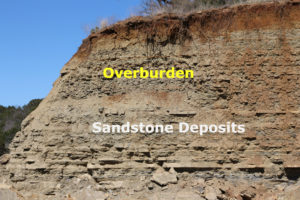 Sandstone Quarry Wall Showing Overburden